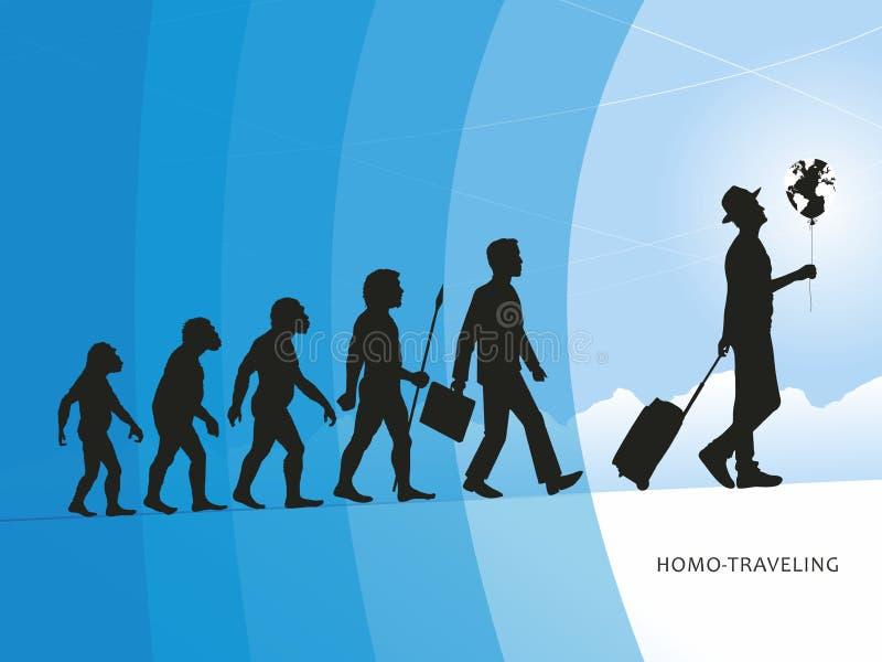 el Homo-viajar stock de ilustración