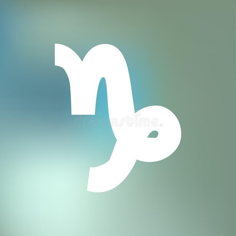 El HORÓSCOPO del Capricornio FIRMA ZODIACO del 21 de diciembre - 20 de enero, en un fondo azul de la niebla del bokeh stock de ilustración