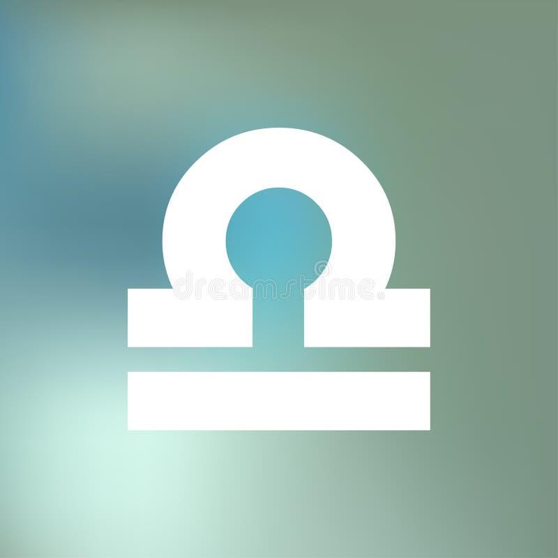 El HORÓSCOPO del libra FIRMA ZODIACO del 23 de septiembre - 22 de octubre, en un fondo azul de la niebla del bokeh ilustración del vector
