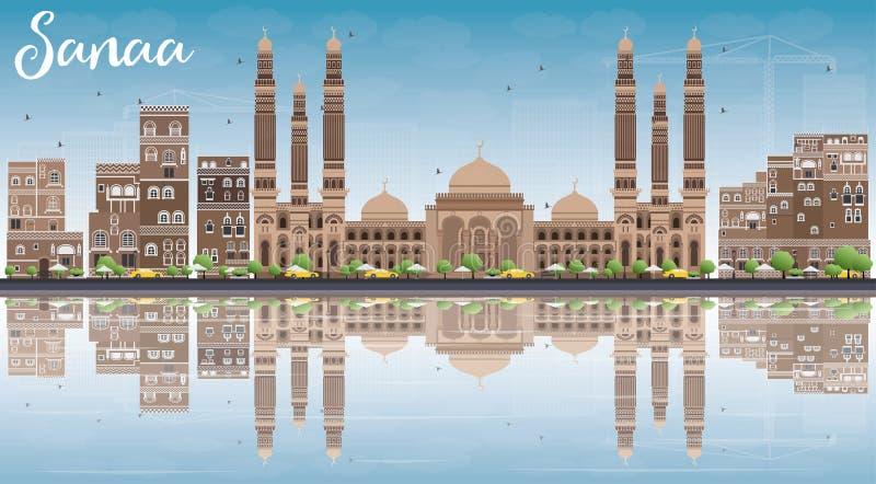 El horizonte con los edificios de Brown, cielo azul de Sanaa (Yemen) y refleja ilustración del vector