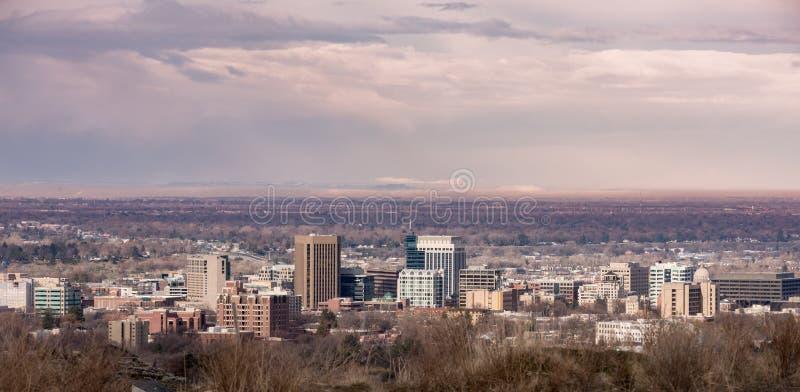 El horizonte de Boise Idaho de las colinas fotografía de archivo