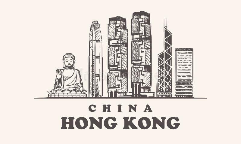 El horizonte de Hong Kong, ejemplo del vector del vintage de China, da edificios exhaustos de la ciudad de Hong Kong stock de ilustración