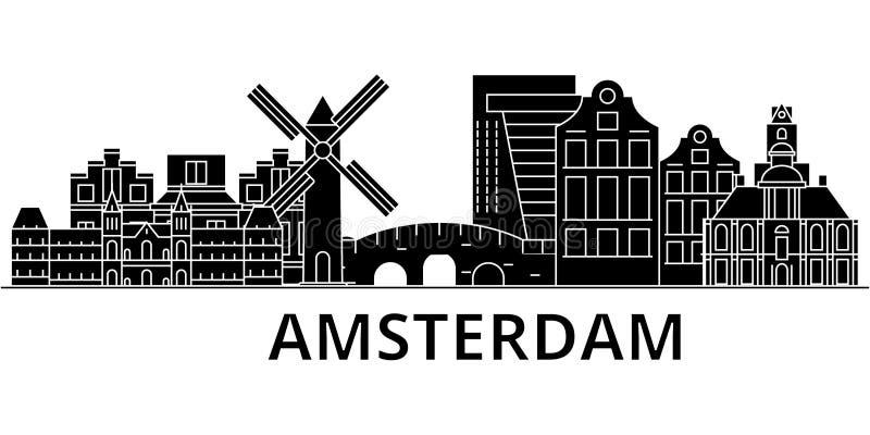 El horizonte de la ciudad del vector de la arquitectura de Amsterdam, paisaje urbano del viaje con las señales, edificios, aisló  stock de ilustración