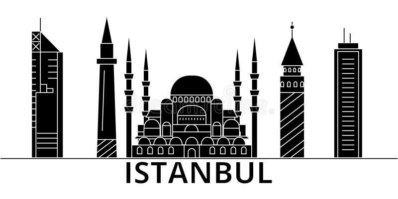 El horizonte de la ciudad del vector de la arquitectura de Estambul, paisaje urbano del viaje con las señales, edificios, aisló v stock de ilustración