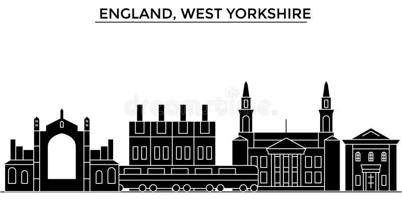 El horizonte de la ciudad del vector de la arquitectura de Inglaterra, West Yorkshire, paisaje urbano del viaje con las señales,  ilustración del vector