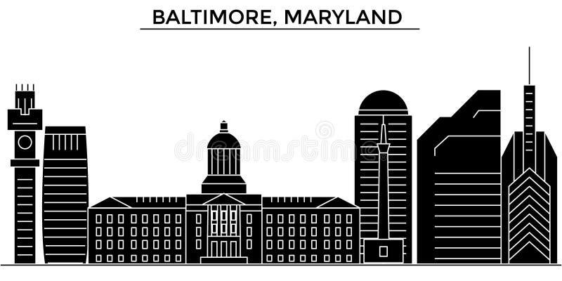 El horizonte de la ciudad del vector de la arquitectura de los E.E.U.U., Baltimore, Maryland, paisaje urbano del viaje con las se ilustración del vector