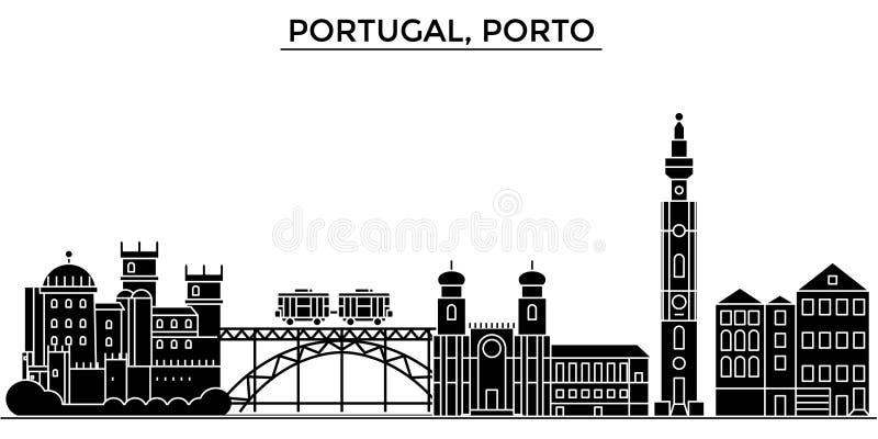 El horizonte de la ciudad del vector de la arquitectura de Portugal, Oporto, paisaje urbano del viaje con las señales, edificios, ilustración del vector