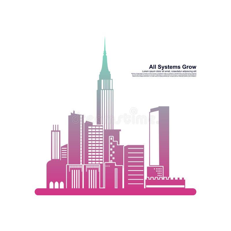 El horizonte de la ciudad moderna silueta de ciudad ilustración vectorial en diseño plano Siluetas vectoriales de los horizontes  stock de ilustración