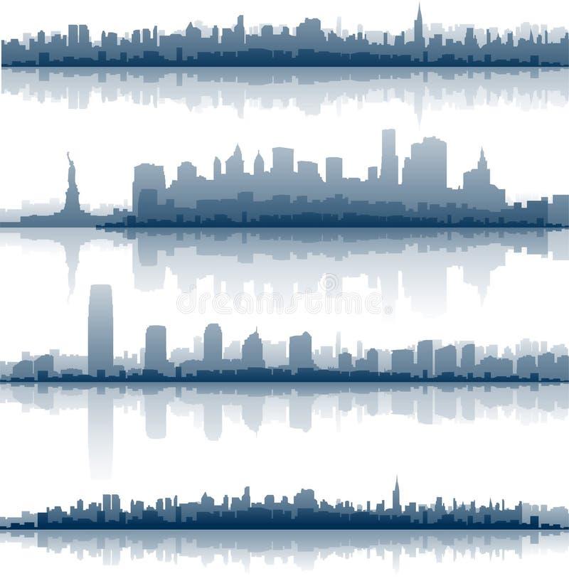 El horizonte de New York City refleja en el agua libre illustration