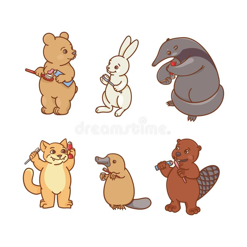 el Hormiga-comedor, los ornitorrincos, las liebres, el castor, el gato y el oso est?n cepillando sus dientes y pico Ejemplo de la ilustración del vector