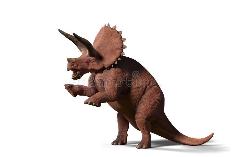 El horridus del Triceratops, dinosaurio del Triceratops del último período cretáceo en la acción 3d rinde aislado en el fondo bla libre illustration