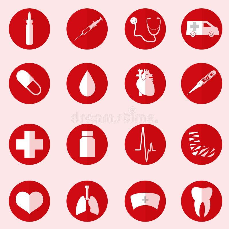 El hospital y los iconos médicos fijaron en círculo rojo ilustración del vector