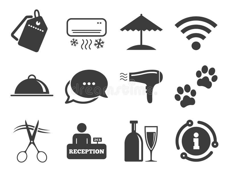 El hotel, apartamento mantiene iconos Muestra de Wifi Vector ilustración del vector