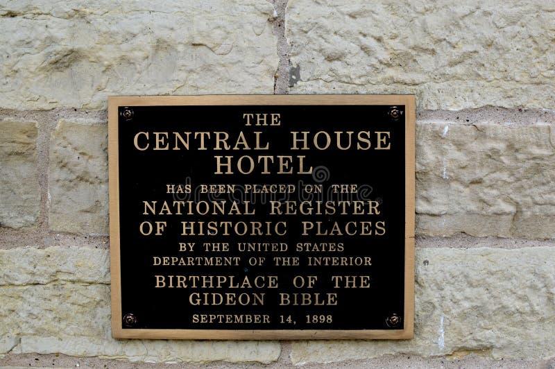 El hotel central de la casa - marcador histórico foto de archivo