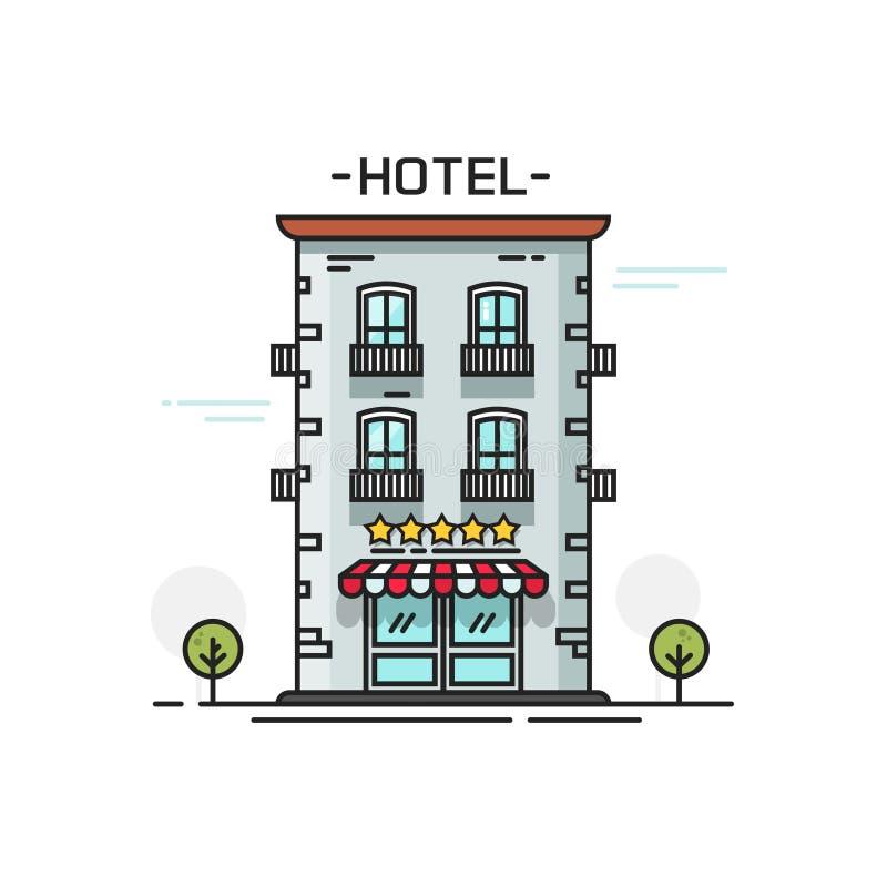 El hotel con cinco estrellas vector la línea vista delantera del ejemplo del cartón plano del esquema aisladas en el fondo blanco ilustración del vector