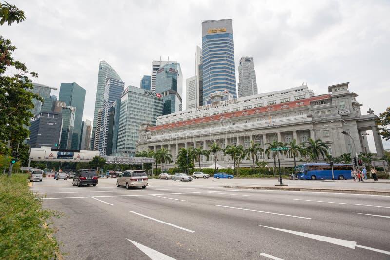 El hotel de Fullerton en Singapur fotos de archivo