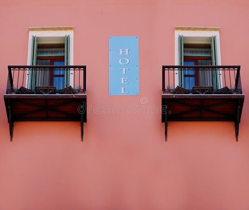 El hotel firma adentro Grecia foto de archivo