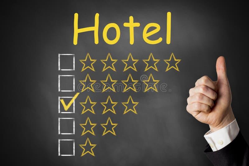 El hotel manosea con los dedos encima de las estrellas del grado tres imagenes de archivo