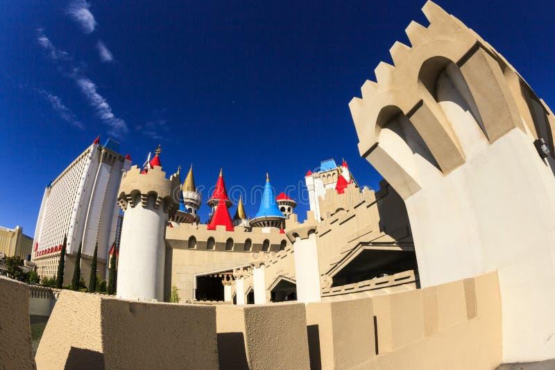 El hotel y el casino - Las Vegas de Excalibur fotos de archivo