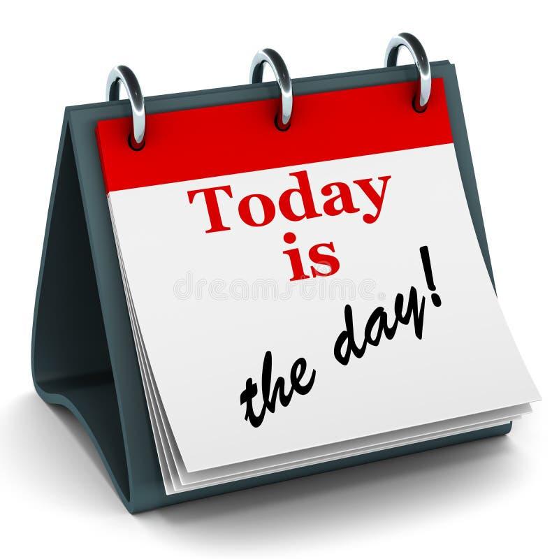 El hoy es el calendario del día stock de ilustración