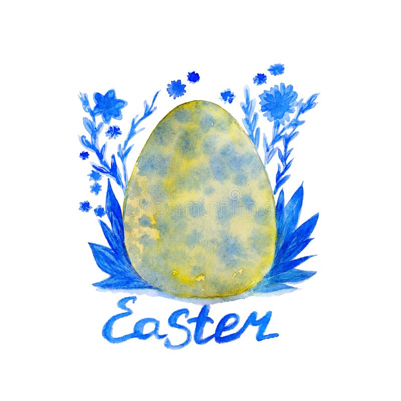 El huevo abigarrado verde exhausto de pascua de la mano de la acuarela rode? el ornamento azul floral en el fondo blanco ilustración del vector