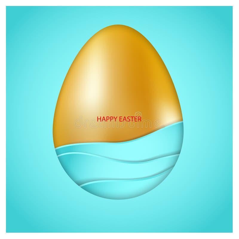 El huevo de Pascua de oro con el azul agita en fondo azul Texto congratulatorio rojo Pascua feliz tarjeta del vector 3d minimalis libre illustration