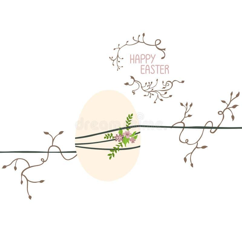 El huevo de Pascua se cuelga en los hilos ilustración del vector