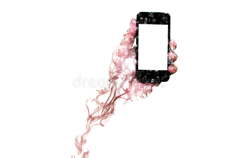 El humo formó como una mano que sostenía un teléfono móvil con la pantalla aislada fotos de archivo libres de regalías