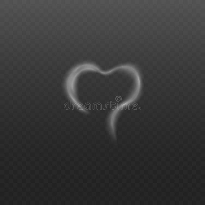 El humo o el vapor blanco en la forma del ejemplo realista del vector del corazón aisló libre illustration