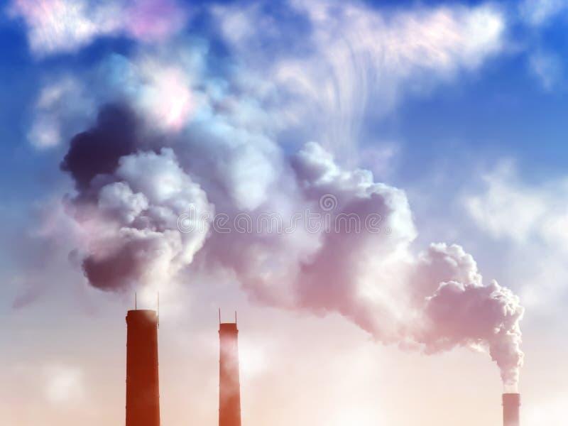 El humo transmite puesta del sol de la fábrica imagenes de archivo