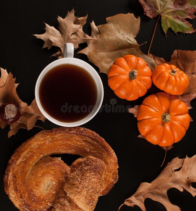 El humor del otoño, taza de té en la caída se va fotos de archivo libres de regalías