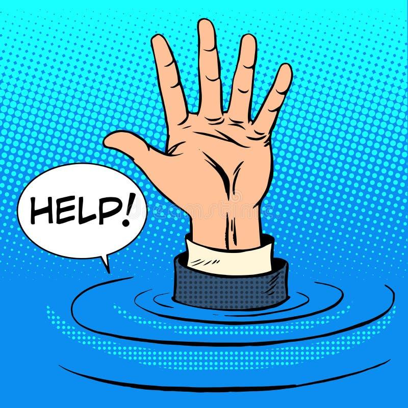 El hundimiento de la mano pide ayuda Concepto del asunto stock de ilustración