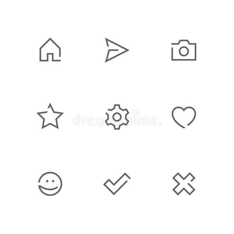 El icono abierto del esquema fijó 03 stock de ilustración
