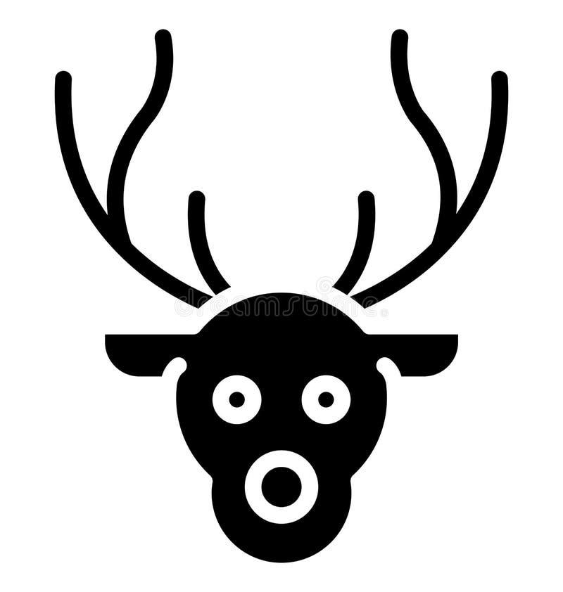 El icono aislado cara del vector del reno que puede ser modificado o corregir fácilmente en cualquier cara del reno del estilo ai stock de ilustración