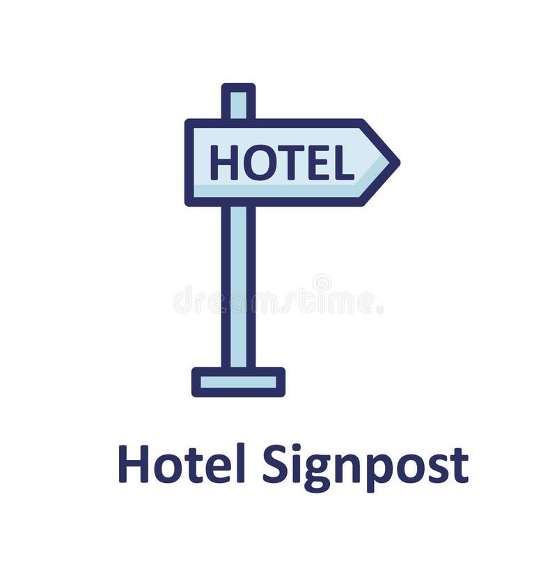El icono aislado letrero del vector del hotel que puede modificar o corregir fácilmente el letrero del hotel aisló el icono del v ilustración del vector
