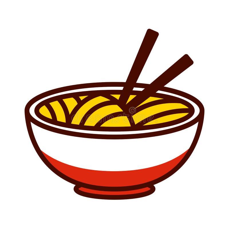 El icono asiático de Emoji de los tallarines de la historieta aisló ilustración del vector