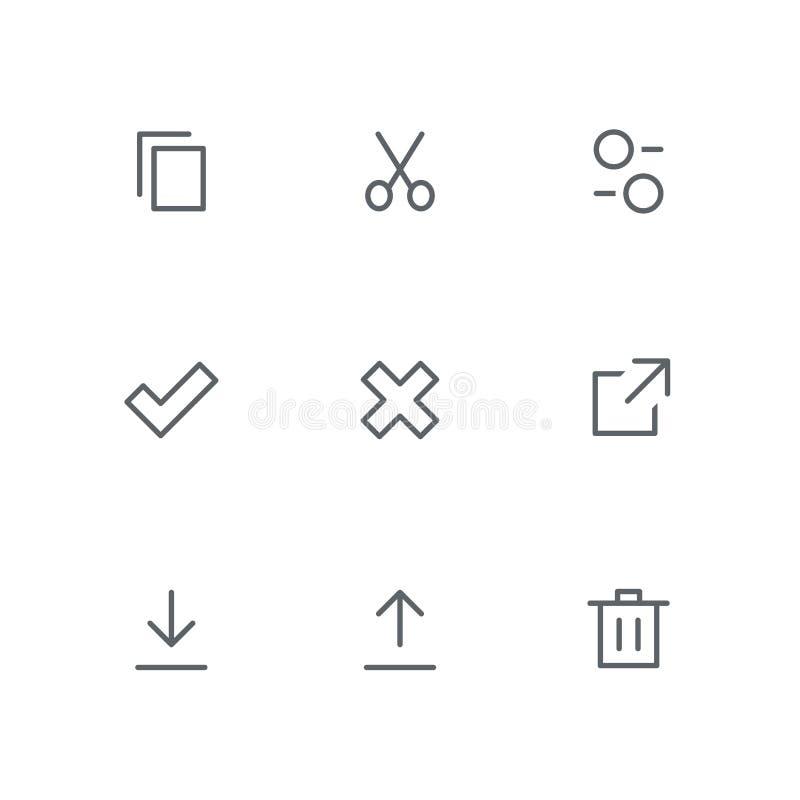 El icono básico del esquema fijó 08 ilustración del vector