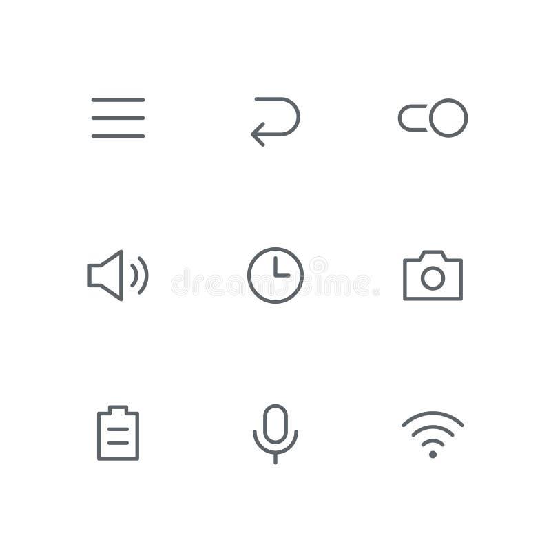 El icono básico del esquema fijó 09 ilustración del vector