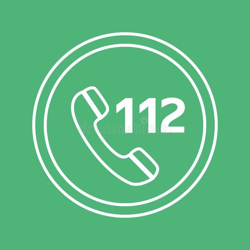 El icono blanco y verde de la llamada de emergencia del vector, circunda el botón plano de Internet del diseño, el web y el ejemp ilustración del vector