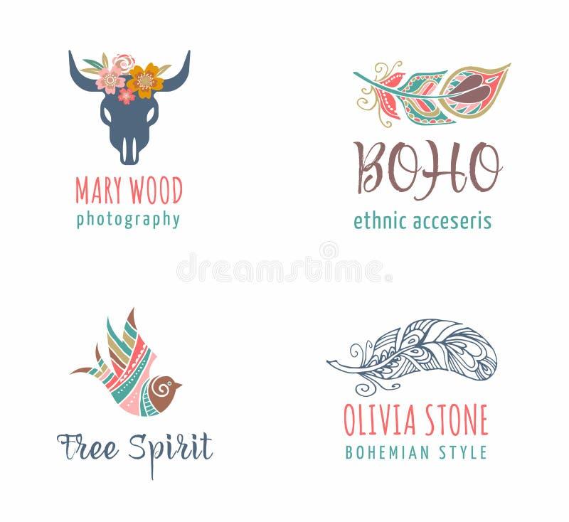 El icono bohemio, tribal, étnico fijó con la pluma y el pájaro ilustración del vector
