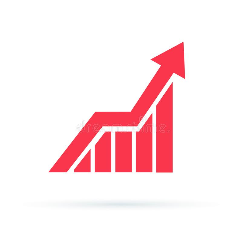 El icono cada vez mayor del gráfico, vector aisló símbolo plano del estilo ilustración del vector