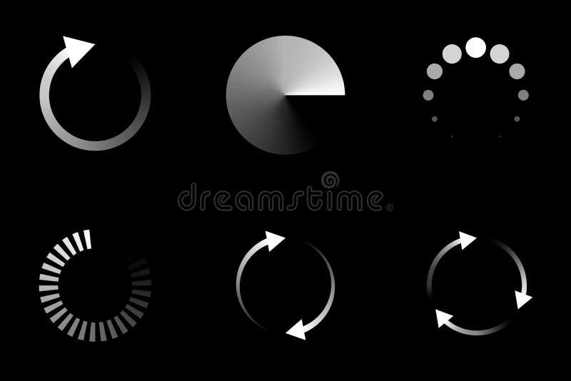 El icono cargado aislado fijó en el fondo negro, ejemplo del vector ilustración del vector