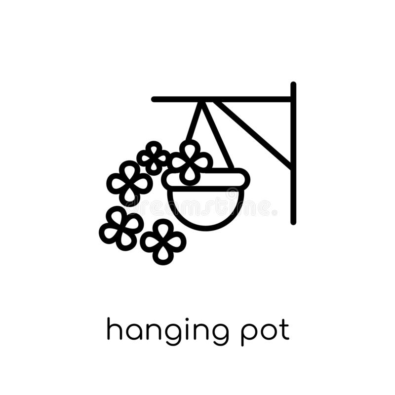 El icono colgante del pote de la agricultura, cultivando y cultivando un huerto recoge stock de ilustración