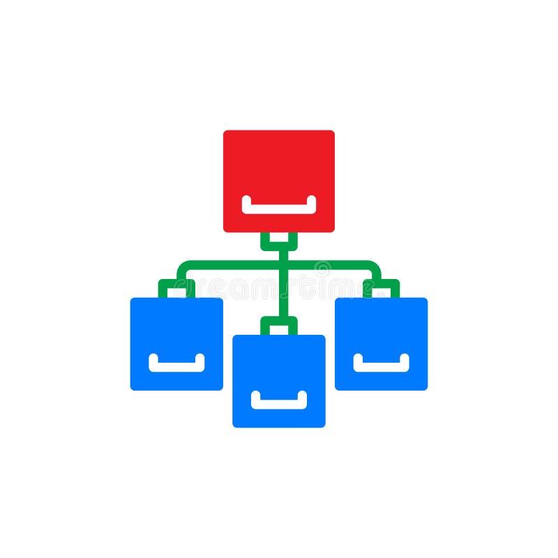 El icono colorido del organigrama, vector la muestra plana stock de ilustración