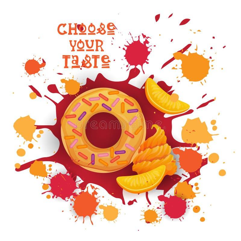 El icono colorido del postre del melocotón del buñuelo elige su cartel del café del gusto stock de ilustración