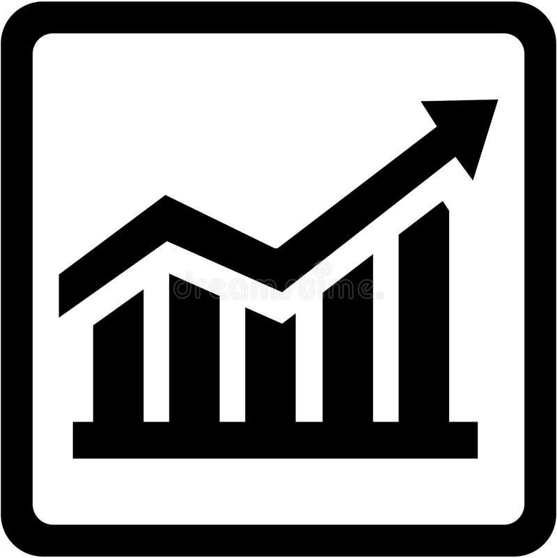 El icono con ventas sube la carta stock de ilustración