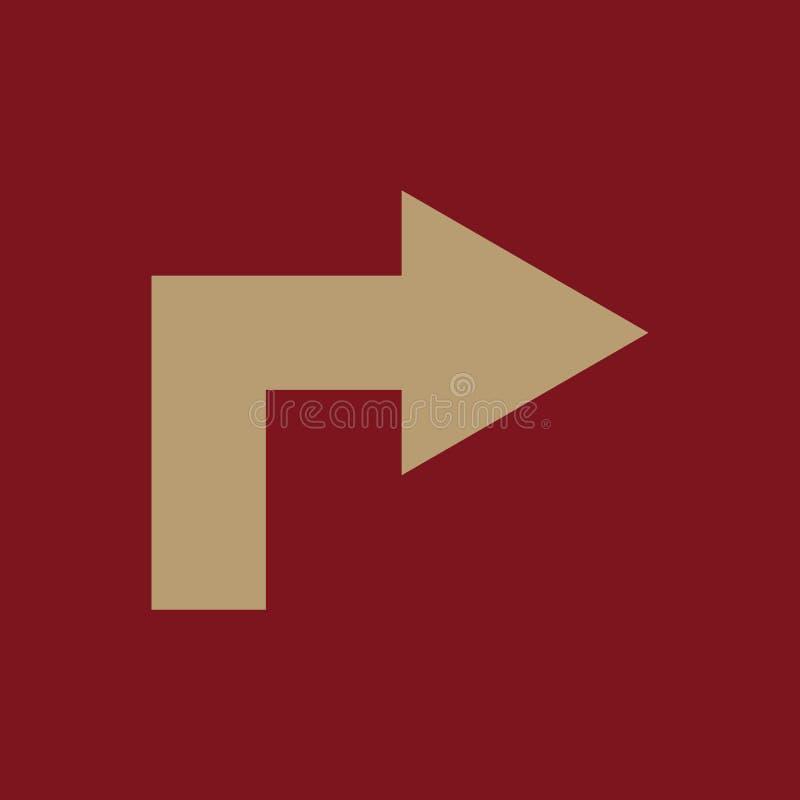 El icono correcto Dirección y flecha, símbolo de la navegación plano ilustración del vector