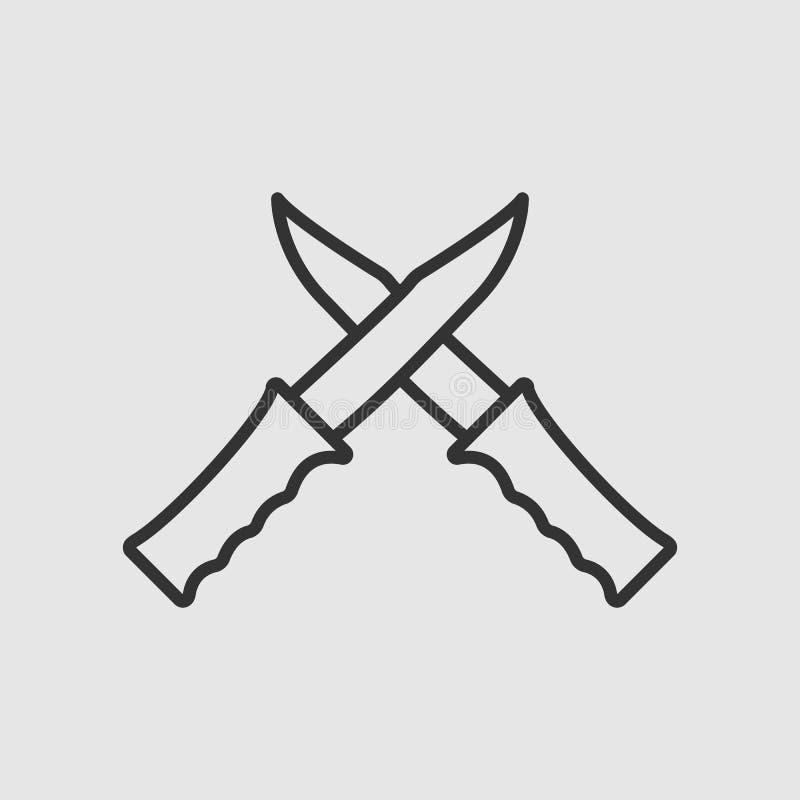 El icono cruzado de los cuchillos ilustración del vector