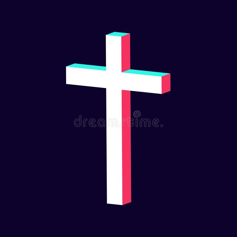 El icono cruzado moderno hecho en 3d aisló stock de ilustración