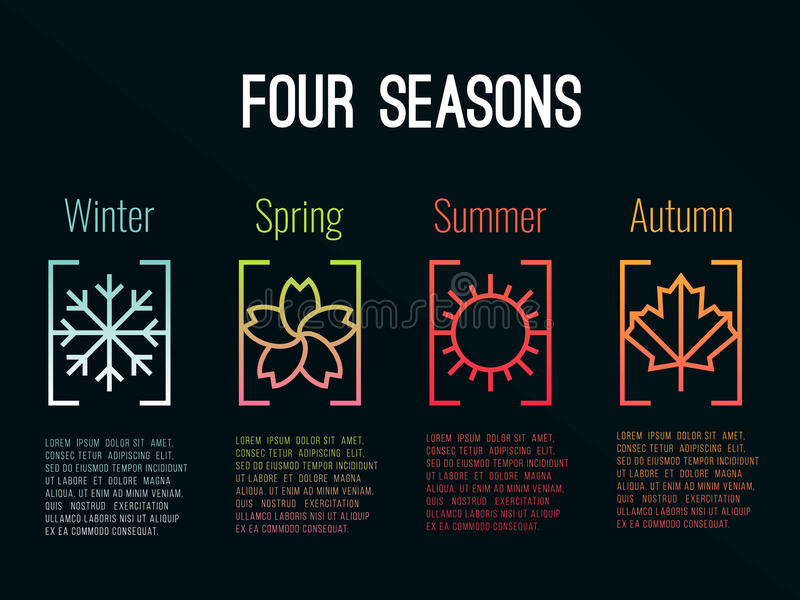 el icono de 4 estaciones firma adentro pendientes de la frontera con invierno de la nieve, la primavera de la flor, el verano de  stock de ilustración